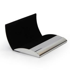 Porta Cartão de Visita Luxo em Metal e Couro Sintético